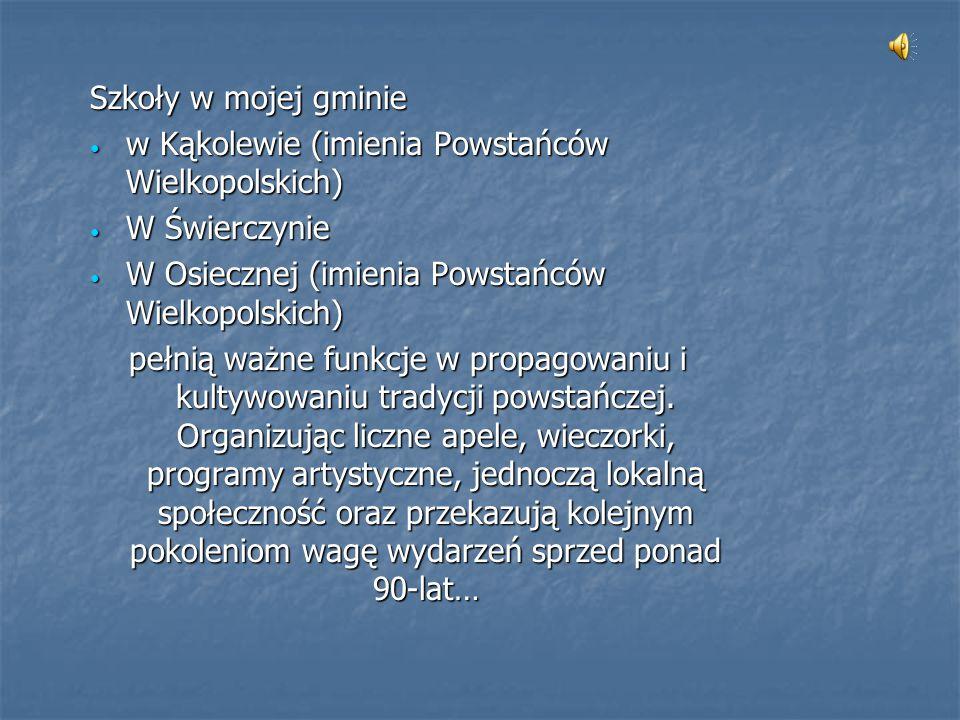 Szkoły w mojej gminie w Kąkolewie (imienia Powstańców Wielkopolskich) W Świerczynie. W Osiecznej (imienia Powstańców Wielkopolskich)