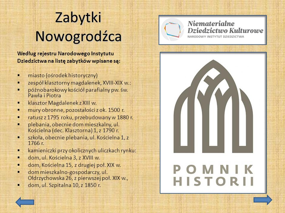 Zabytki Nowogrodźca Według rejestru Narodowego Instytutu
