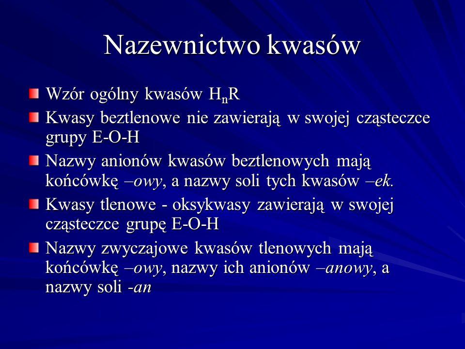 Nazewnictwo kwasów Wzór ogólny kwasów HnR