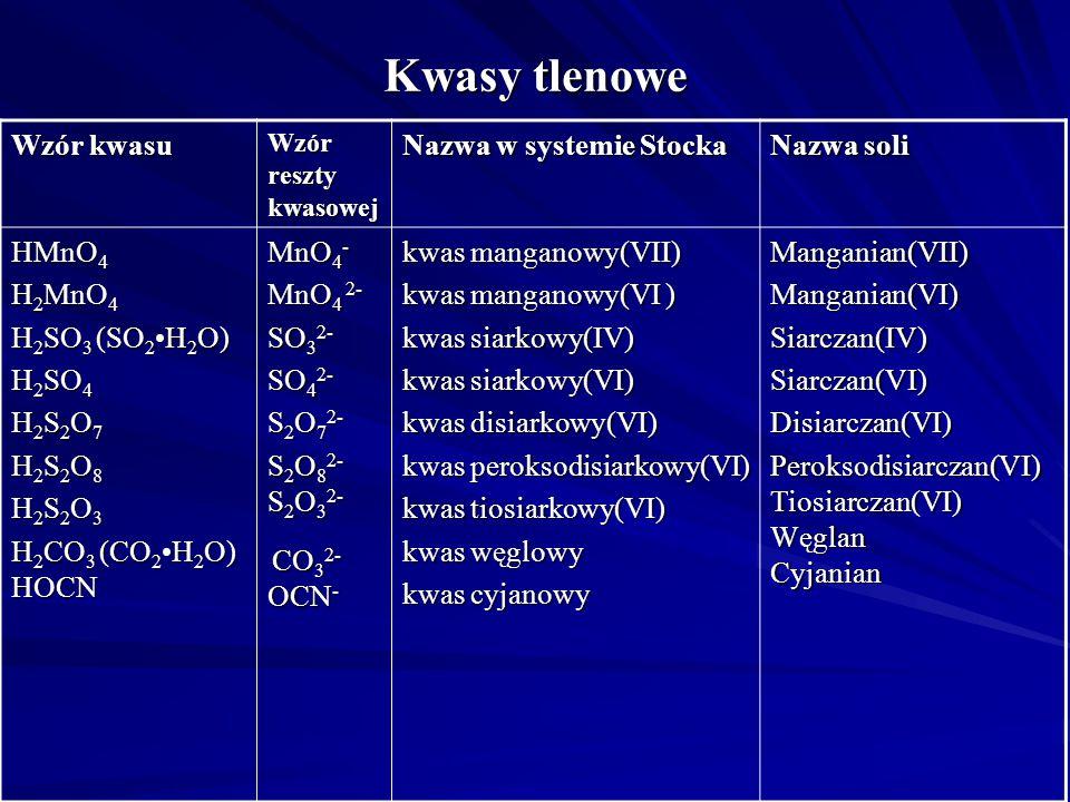 Kwasy tlenowe Wzór kwasu Nazwa w systemie Stocka Nazwa soli HMnO4