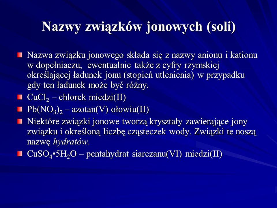 Nazwy związków jonowych (soli)