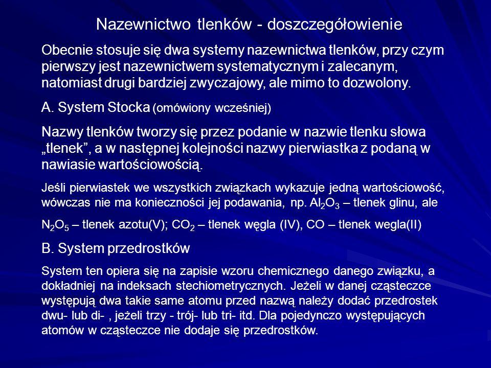 Nazewnictwo tlenków - doszczegółowienie