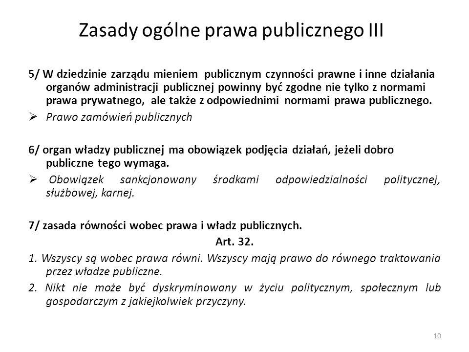 Zasady ogólne prawa publicznego III