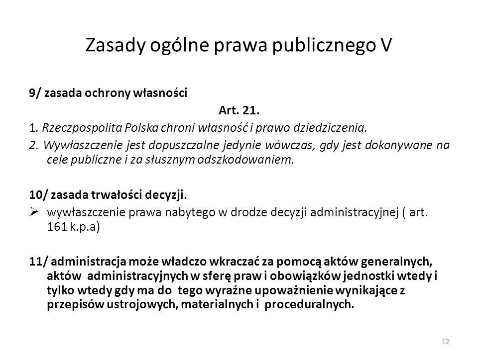 Zasady ogólne prawa publicznego V