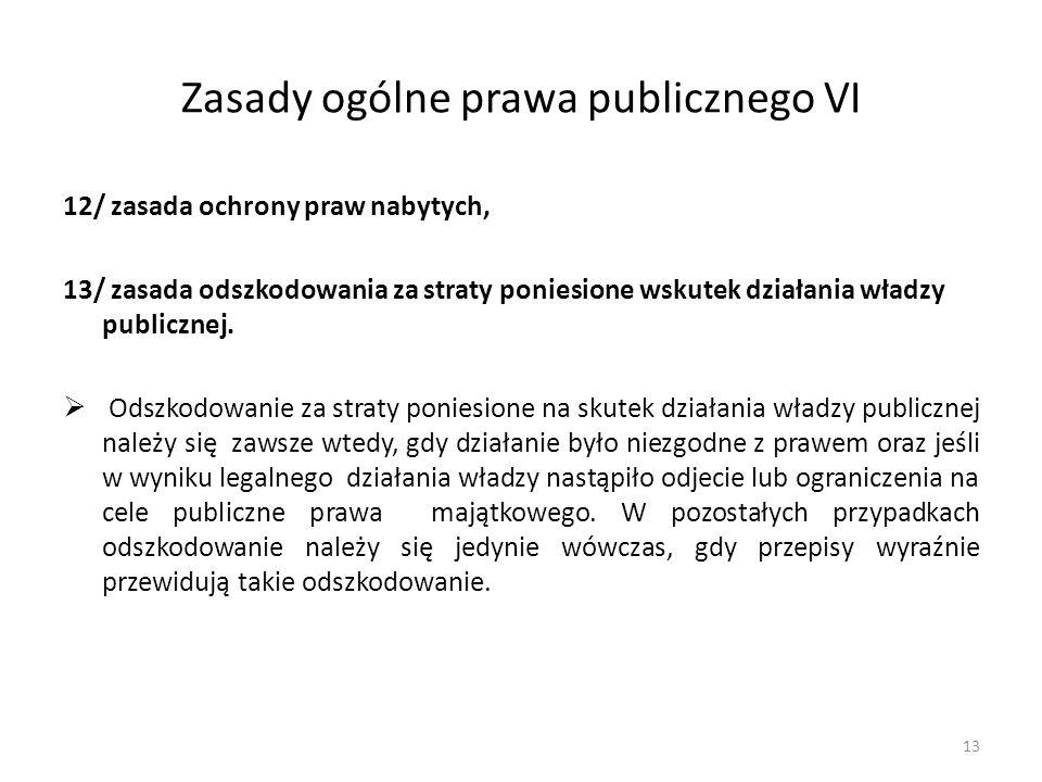 Zasady ogólne prawa publicznego VI