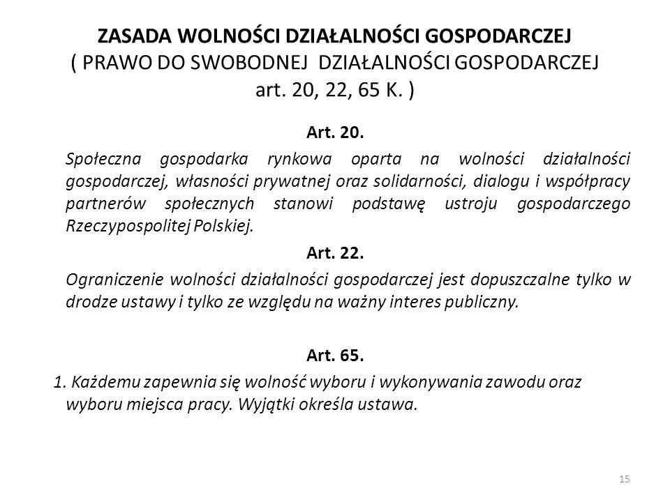 ZASADA WOLNOŚCI DZIAŁALNOŚCI GOSPODARCZEJ ( PRAWO DO SWOBODNEJ DZIAŁALNOŚCI GOSPODARCZEJ art. 20, 22, 65 K. )