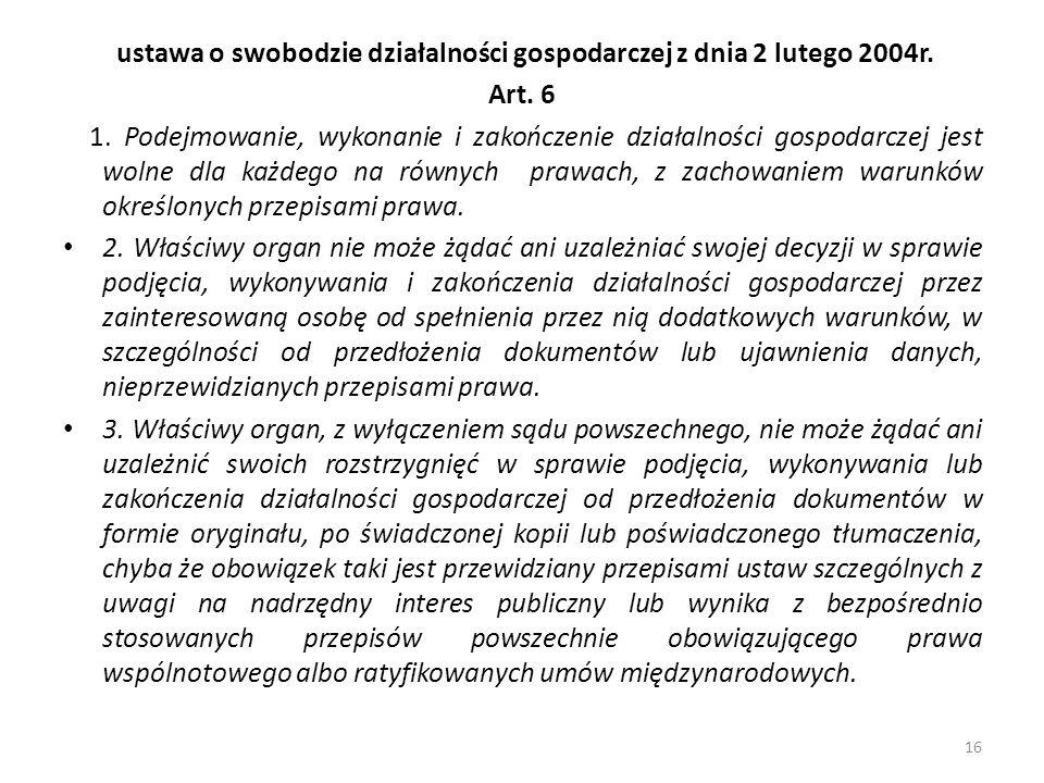 ustawa o swobodzie działalności gospodarczej z dnia 2 lutego 2004r.