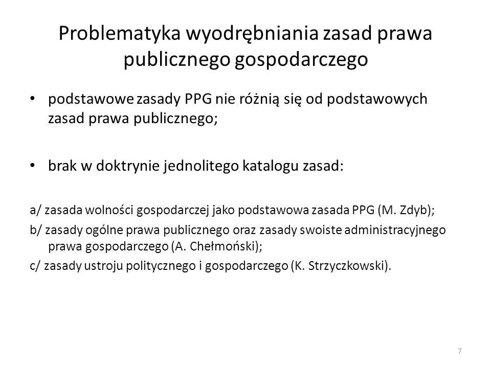 Problematyka wyodrębniania zasad prawa publicznego gospodarczego