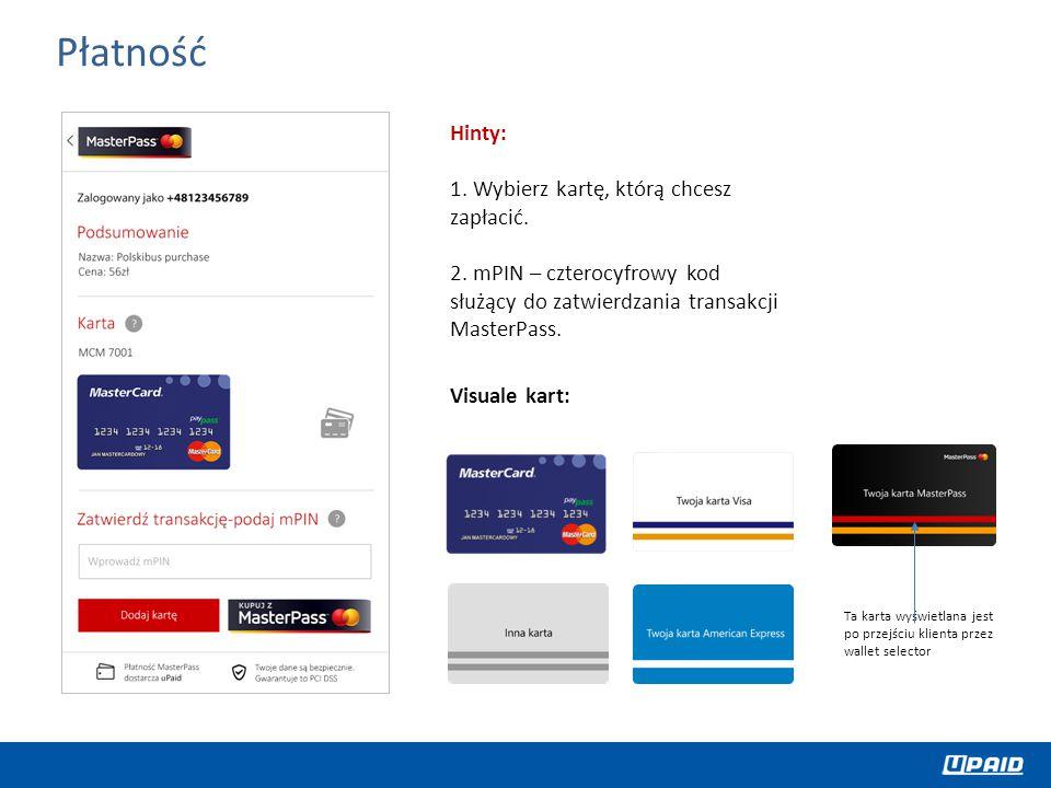 Płatność Hinty: 1. Wybierz kartę, którą chcesz zapłacić.