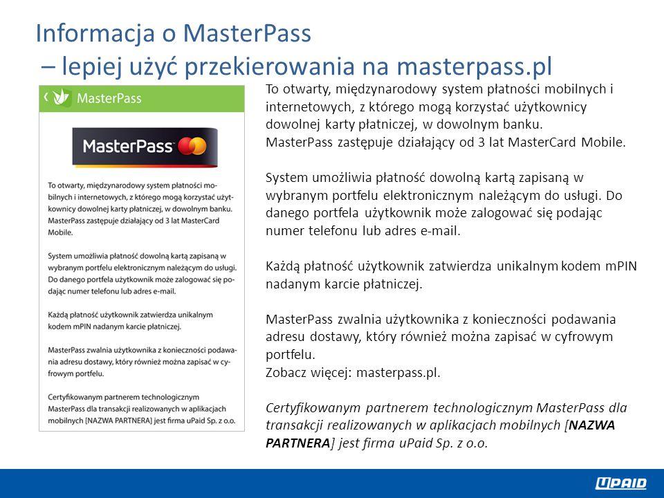 Informacja o MasterPass – lepiej użyć przekierowania na masterpass.pl