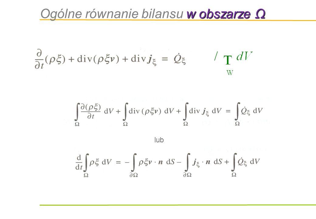 Ogólne równanie bilansu w obszarze Ω