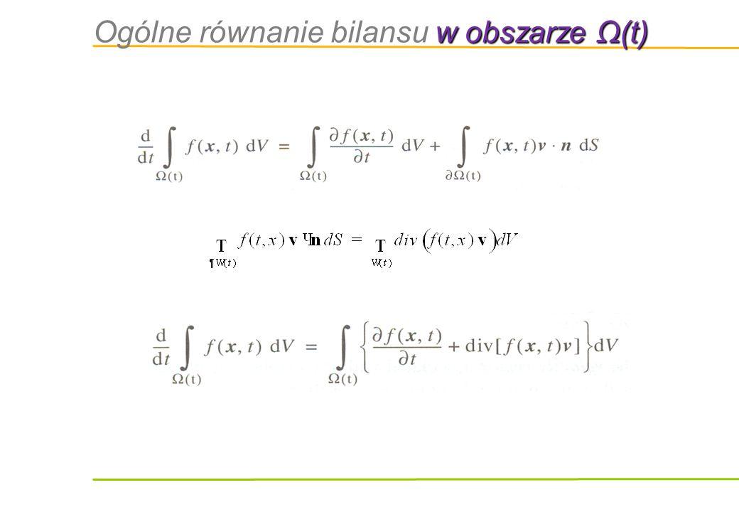 Ogólne równanie bilansu w obszarze Ω(t)