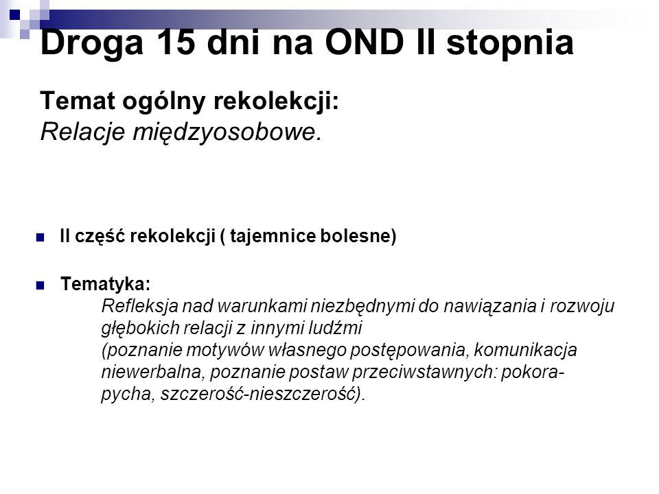 Droga 15 dni na OND II stopnia Temat ogólny rekolekcji: Relacje międzyosobowe.