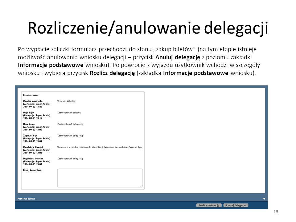 Rozliczenie/anulowanie delegacji