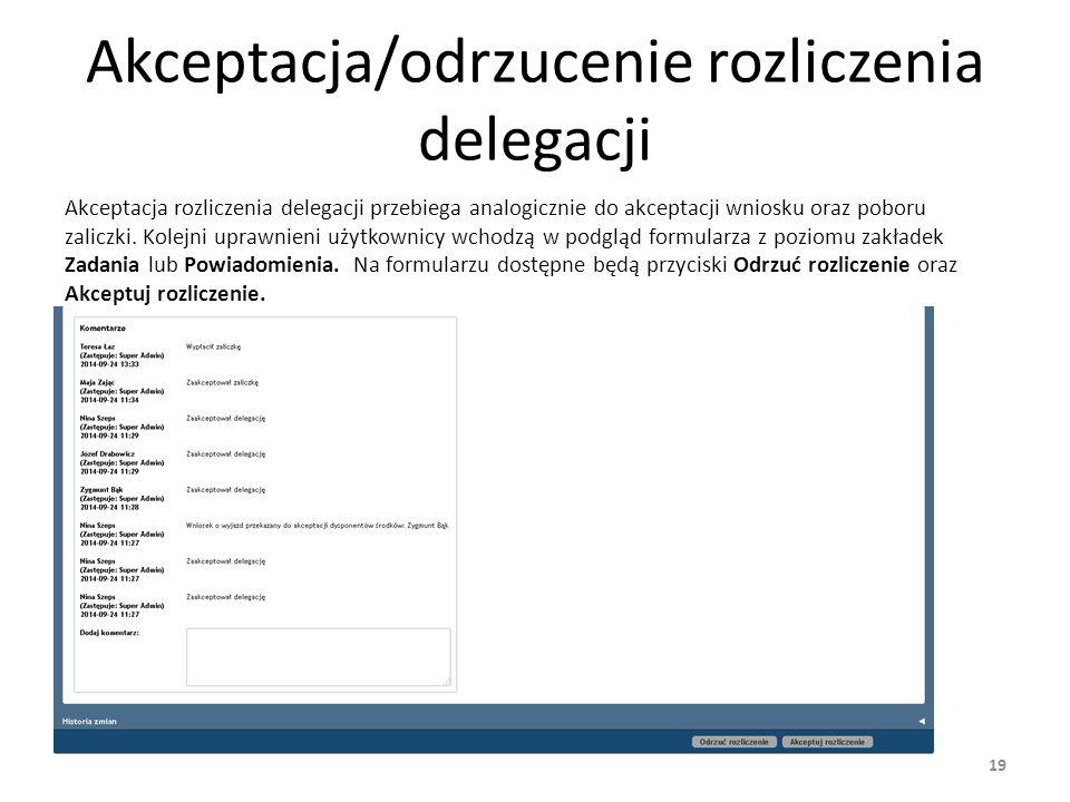 Akceptacja/odrzucenie rozliczenia delegacji