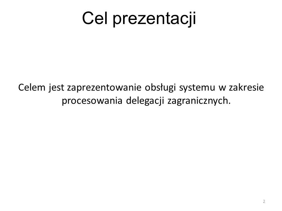 Cel prezentacji Celem jest zaprezentowanie obsługi systemu w zakresie procesowania delegacji zagranicznych.