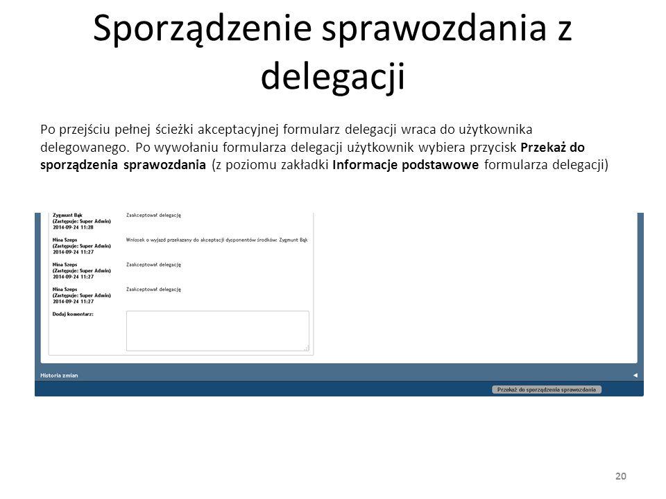 Sporządzenie sprawozdania z delegacji