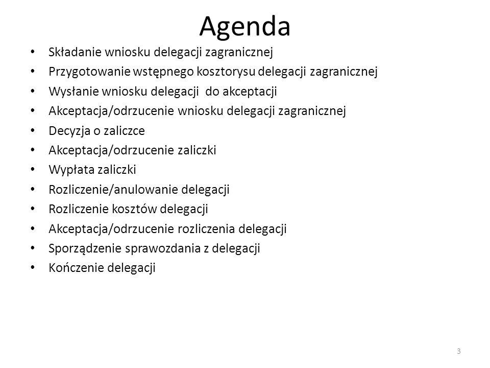 Agenda Składanie wniosku delegacji zagranicznej