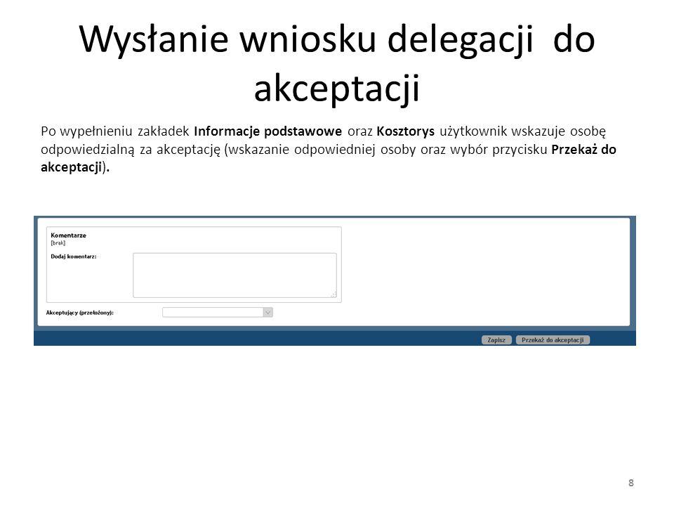 Wysłanie wniosku delegacji do akceptacji