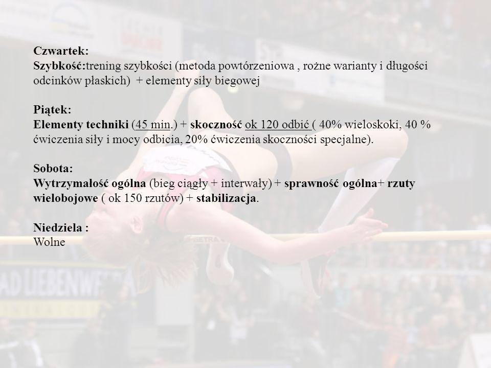 Czwartek: Szybkość:trening szybkości (metoda powtórzeniowa , rożne warianty i długości odcinków płaskich) + elementy siły biegowej.