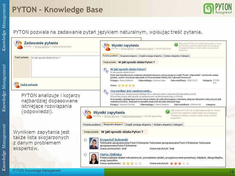 PYTON – Knowledge Base PYTON pozwala na zadawanie pytań językiem naturalnym, wpisując treść pytania.