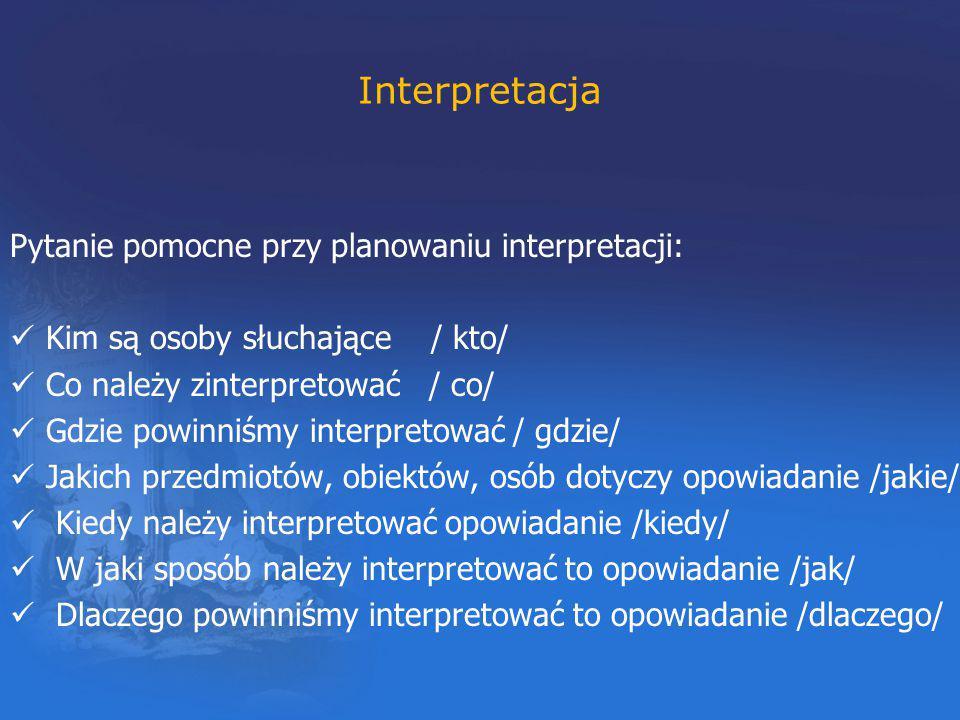 Interpretacja Pytanie pomocne przy planowaniu interpretacji: