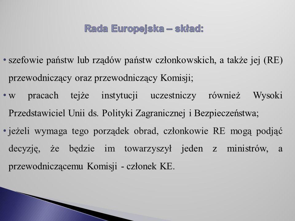 Rada Europejska – skład: