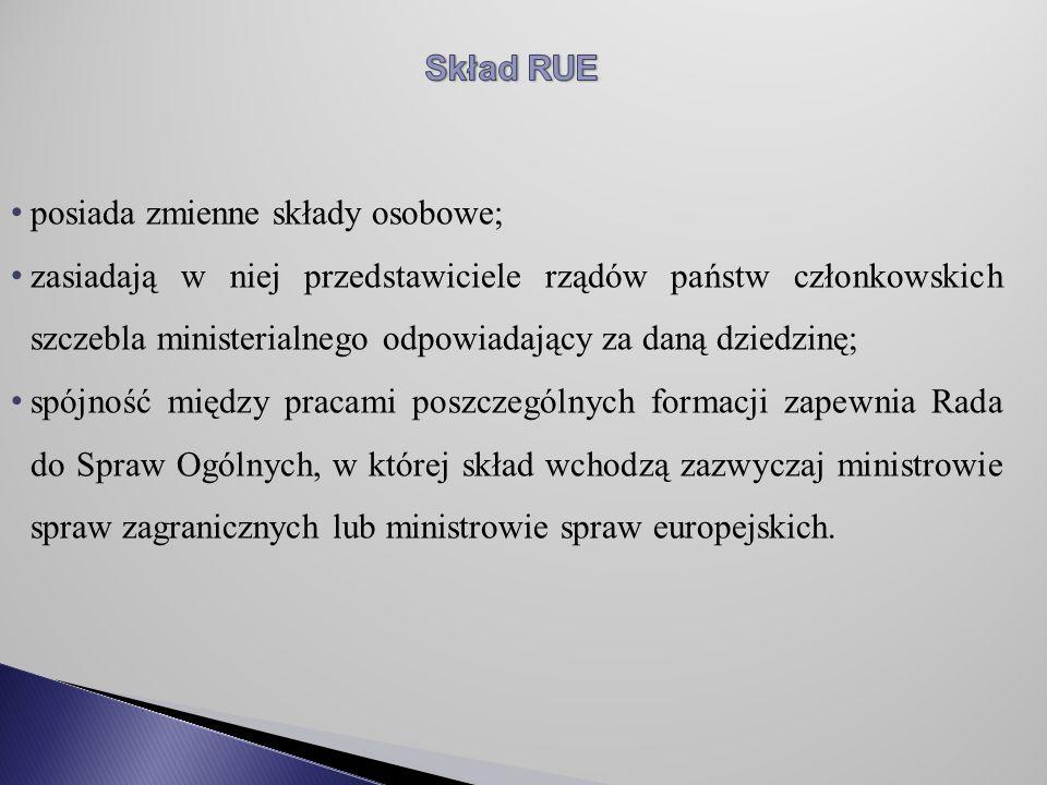Skład RUE posiada zmienne składy osobowe;