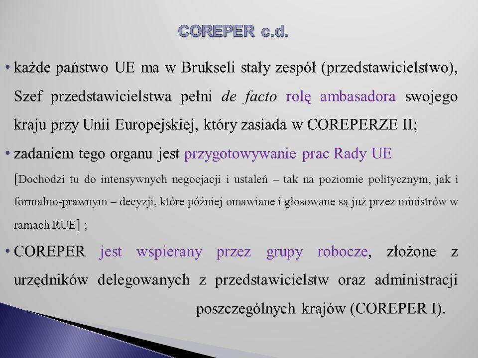 zadaniem tego organu jest przygotowywanie prac Rady UE