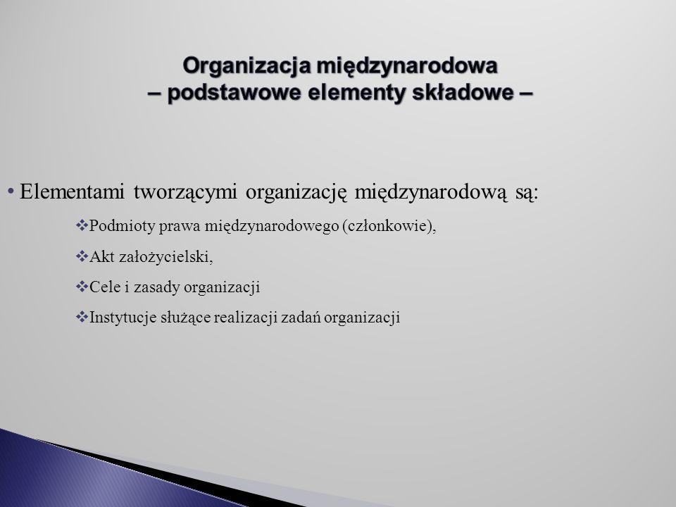 Organizacja międzynarodowa – podstawowe elementy składowe –