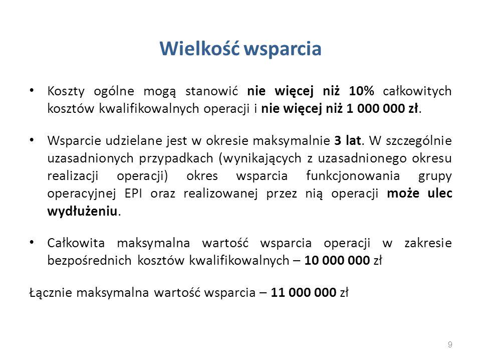 Wielkość wsparcia Koszty ogólne mogą stanowić nie więcej niż 10% całkowitych kosztów kwalifikowalnych operacji i nie więcej niż 1 000 000 zł.