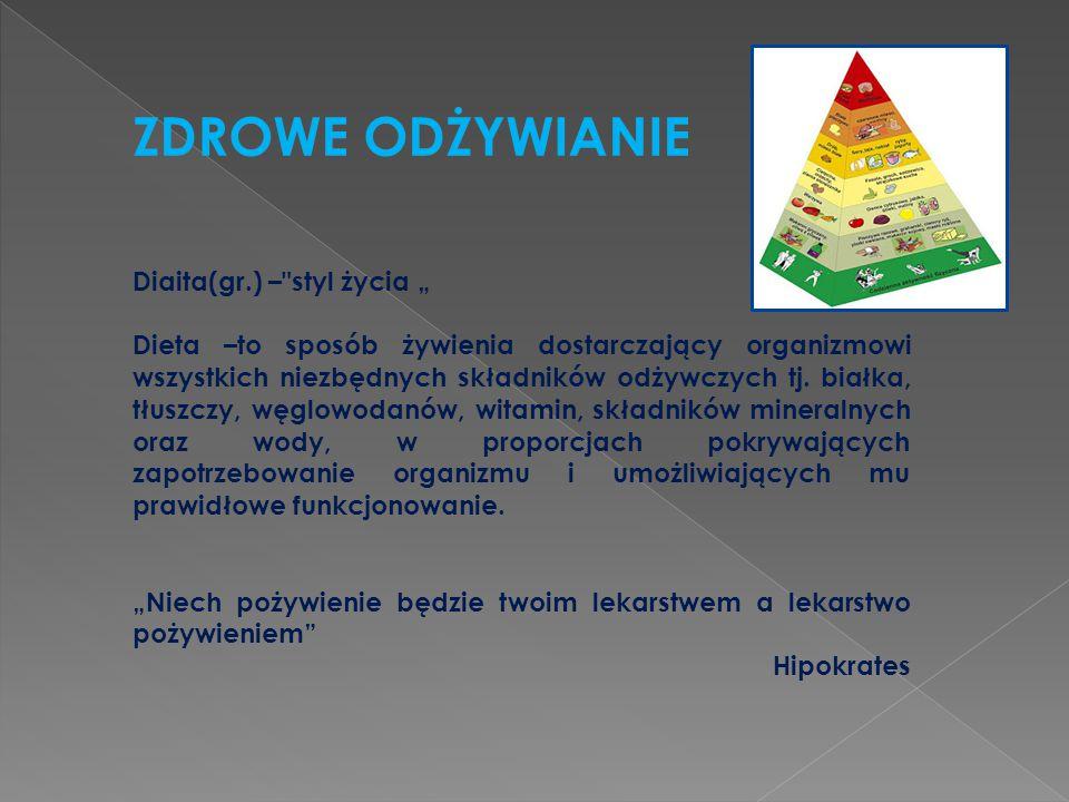 """ZDROWE ODŻYWIANIE Diaita(gr.) – styl życia """""""