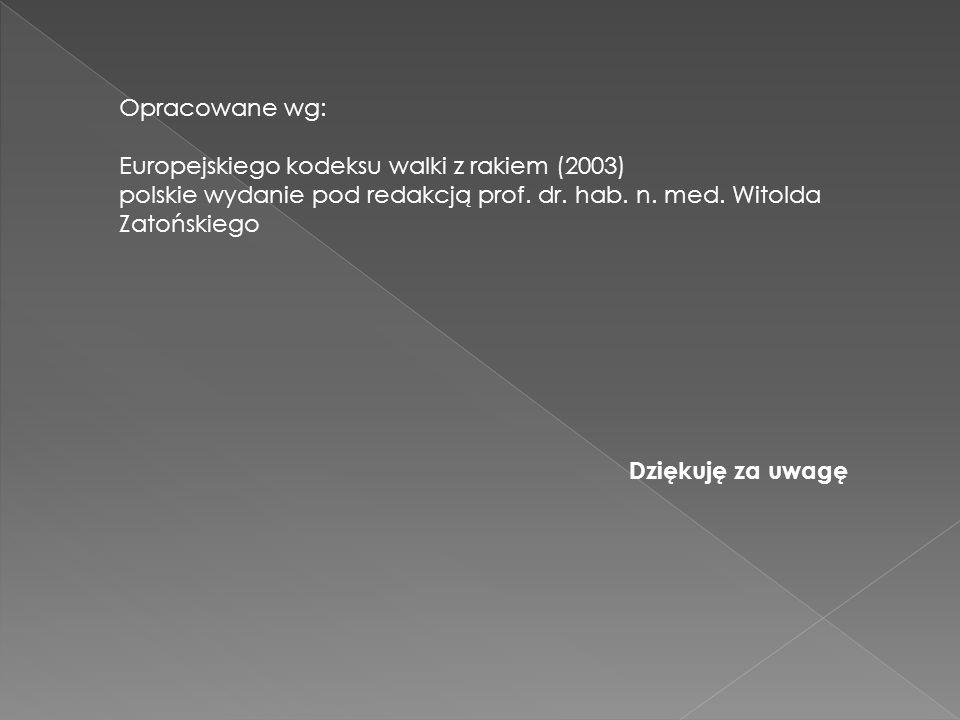 Opracowane wg: Europejskiego kodeksu walki z rakiem (2003) polskie wydanie pod redakcją prof. dr. hab. n. med. Witolda Zatońskiego.