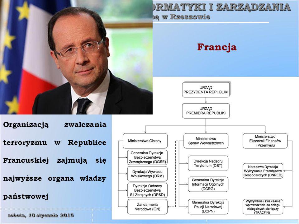 Francja Organizacją zwalczania terroryzmu w Republice Francuskiej zajmują się najwyższe organa władzy państwowej.