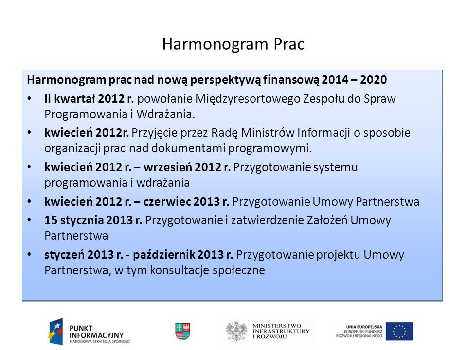 Harmonogram Prac Harmonogram prac nad nową perspektywą finansową 2014 – 2020.