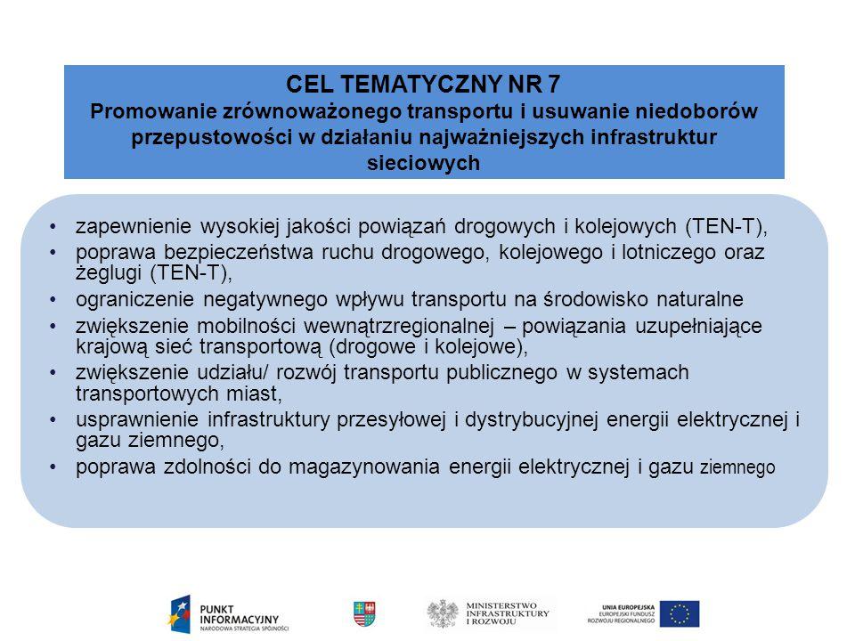CEL TEMATYCZNY NR 7 Promowanie zrównoważonego transportu i usuwanie niedoborów. przepustowości w działaniu najważniejszych infrastruktur sieciowych.