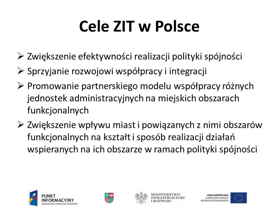 Cele ZIT w Polsce Zwiększenie efektywności realizacji polityki spójności. Sprzyjanie rozwojowi współpracy i integracji.
