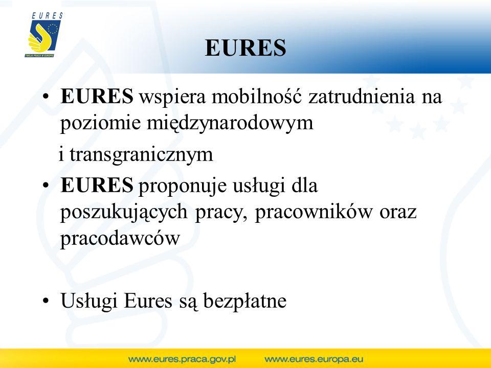 EURES EURES wspiera mobilność zatrudnienia na poziomie międzynarodowym
