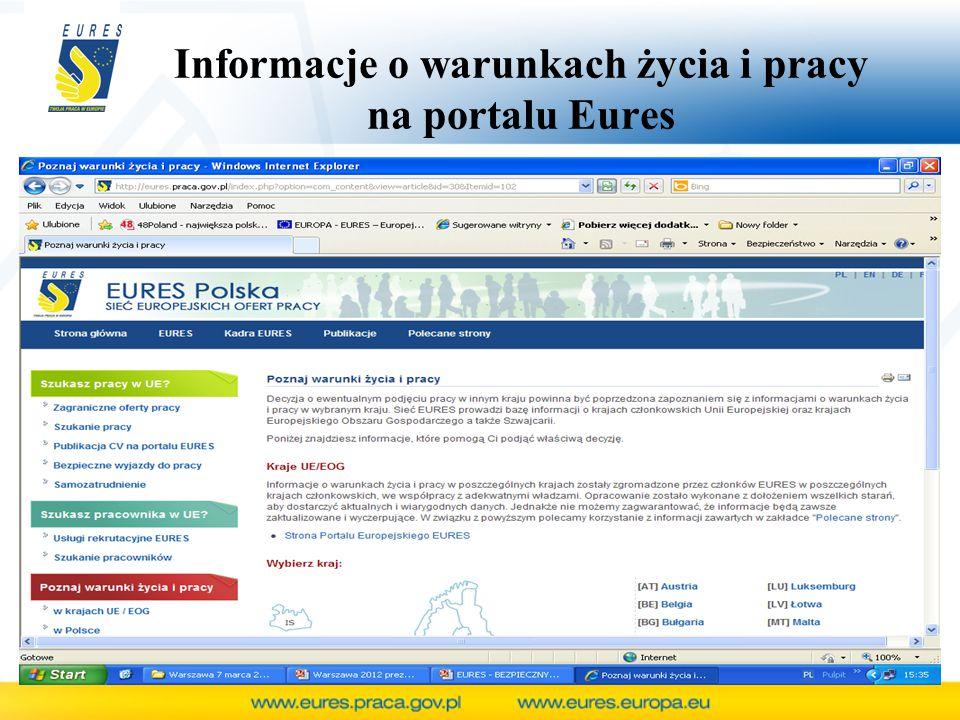 Informacje o warunkach życia i pracy na portalu Eures