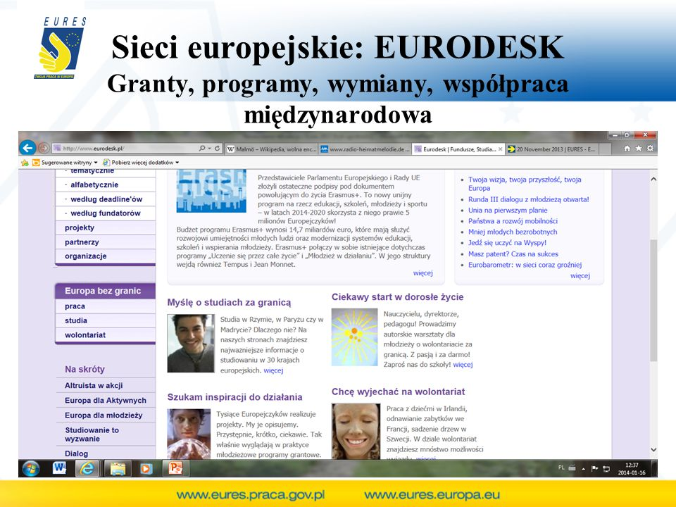 Sieci europejskie: EURODESK Granty, programy, wymiany, współpraca międzynarodowa