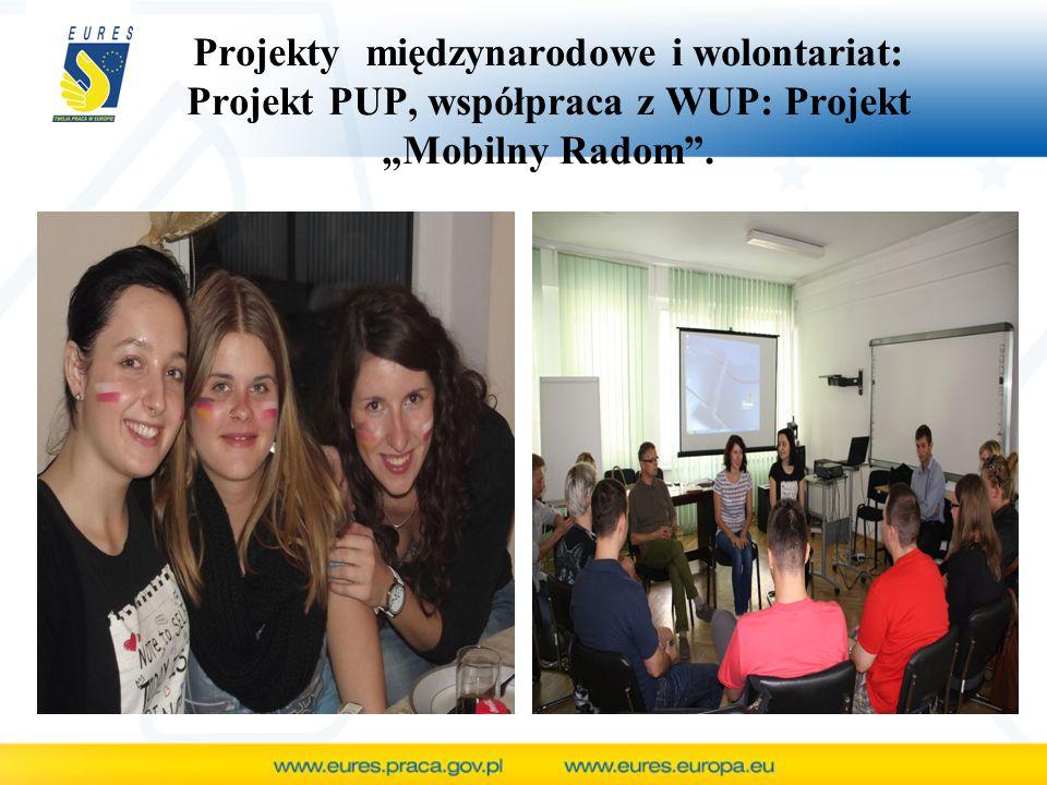"""Projekty międzynarodowe i wolontariat: Projekt PUP, współpraca z WUP: Projekt """"Mobilny Radom ."""