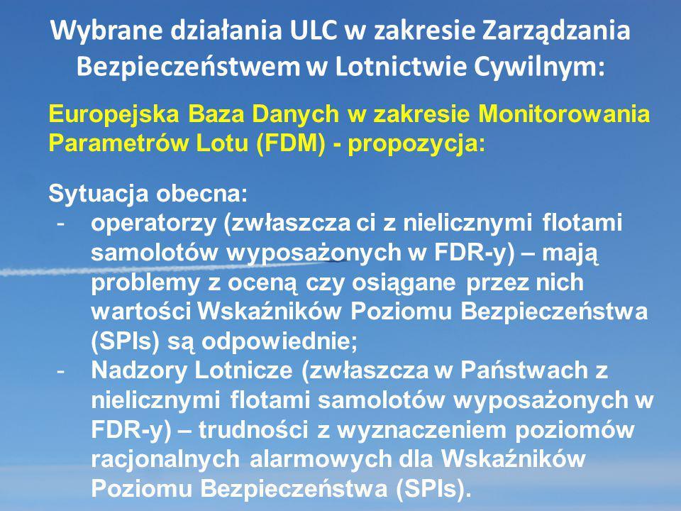 Wybrane działania ULC w zakresie Zarządzania Bezpieczeństwem w Lotnictwie Cywilnym: