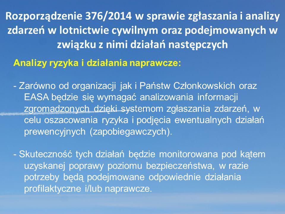 Rozporządzenie 376/2014 w sprawie zgłaszania i analizy zdarzeń w lotnictwie cywilnym oraz podejmowanych w związku z nimi działań następczych