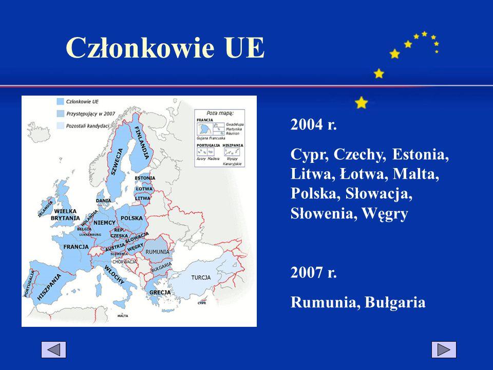 Członkowie UE 2004 r. Cypr, Czechy, Estonia, Litwa, Łotwa, Malta, Polska, Słowacja, Słowenia, Węgry.