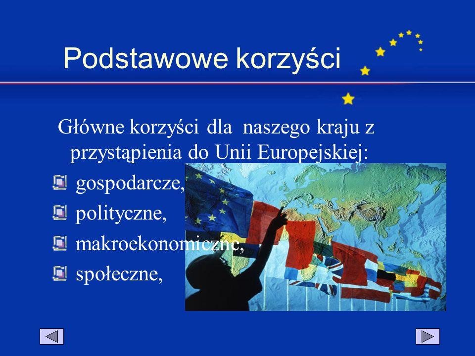 Podstawowe korzyści Główne korzyści dla naszego kraju z przystąpienia do Unii Europejskiej: gospodarcze,