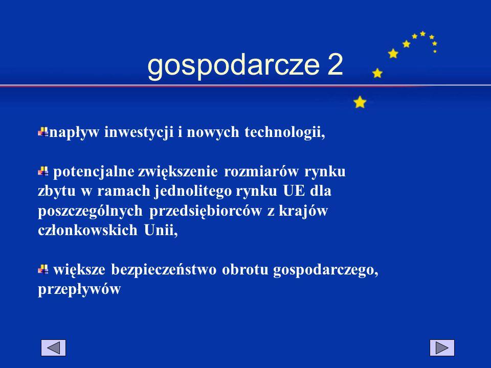 gospodarcze 2 napływ inwestycji i nowych technologii,