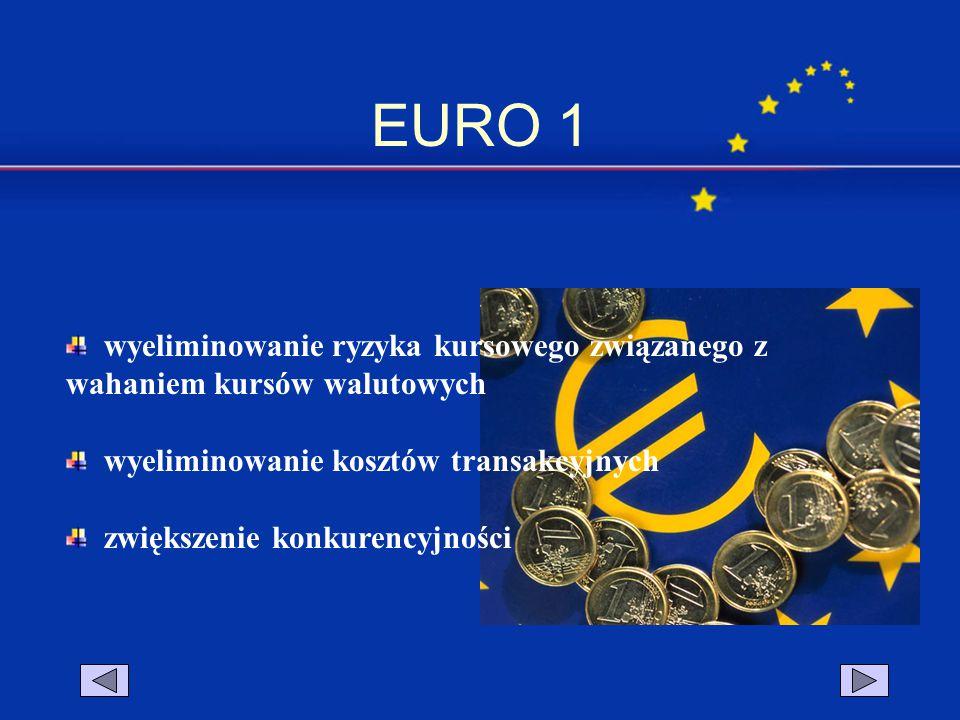 EURO 1 wyeliminowanie ryzyka kursowego związanego z wahaniem kursów walutowych. wyeliminowanie kosztów transakcyjnych.