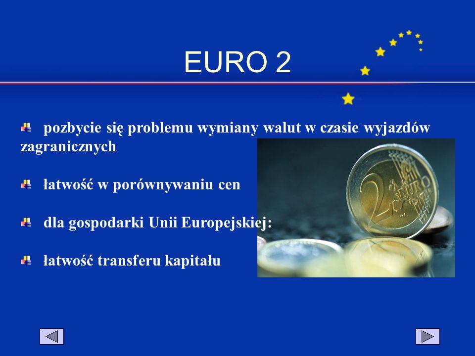 EURO 2 pozbycie się problemu wymiany walut w czasie wyjazdów zagranicznych. łatwość w porównywaniu cen.