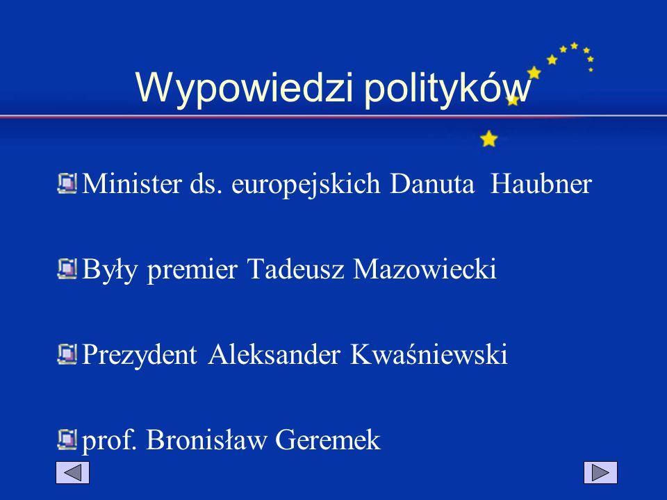 Wypowiedzi polityków Minister ds. europejskich Danuta Haubner