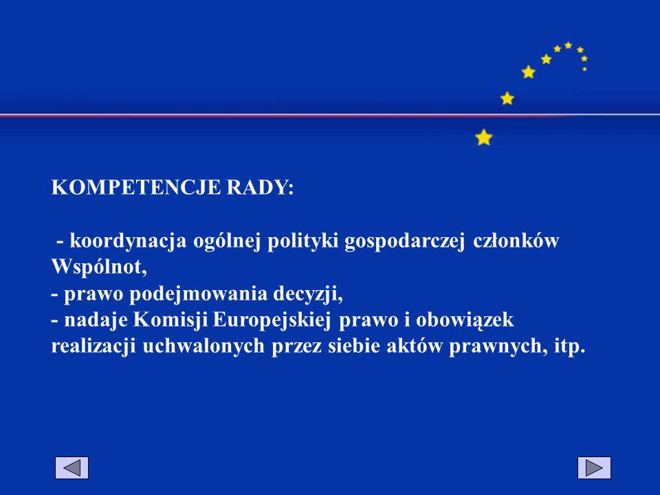 KOMPETENCJE RADY: - koordynacja ogólnej polityki gospodarczej członków Wspólnot, - prawo podejmowania decyzji,